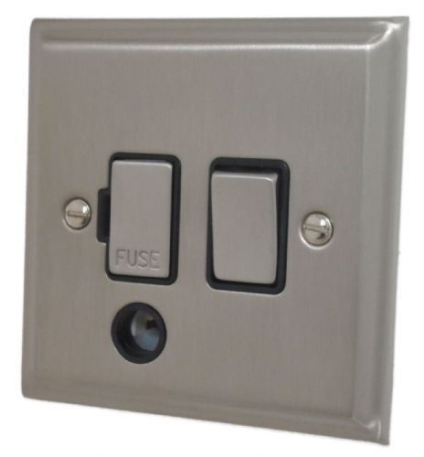 G&H DSN356 Deco Plate Satin Nickel 1 Gang Fused Spur 13A Switched & Flex Outlet